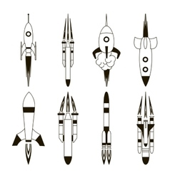 Set of rockets vector