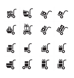 Shopping cart and man courier set vector