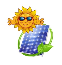 Solar panel with cartoon sun vector image