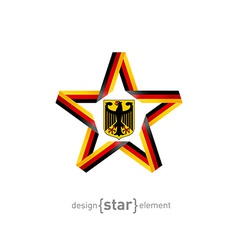 star with Germany flag colors and coat of arms vector image