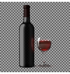 Transparent blank black realistic bottle for red vector