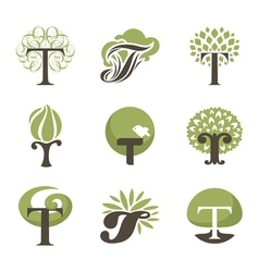 Tree - logo template set vector image vector image