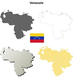 Venezuela outline map set vector