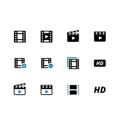 Video duotone icons on white background vector image