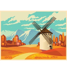 windmill in autumn old poster vector image vector image