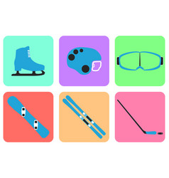 winter sports equipment collection vector image