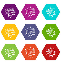 Wow explosion effect icon set color hexahedron vector