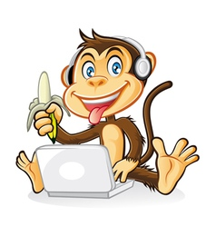 Monkey laptop vector