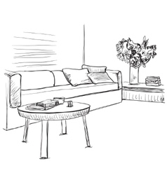 Room interior sketch sofa and furniture vector