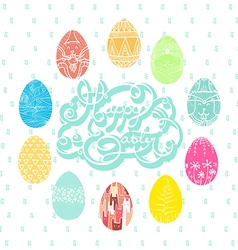 Colorful eggs on pasture of easter vector
