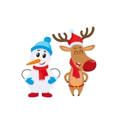 Dnowman in hat and mittens with christmas reindeer vector
