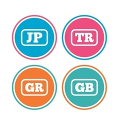 Language icons jp tr gr and gb translation vector