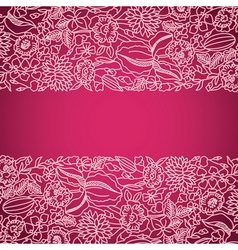 Pink ornamental card with lace vector image