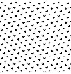 Black doodle hearts seamless pattern backgroun vector image