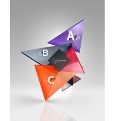 Glossy glass translucent triangles on 3d empty vector