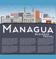 Managua skyline with gray buildings blue sky and vector