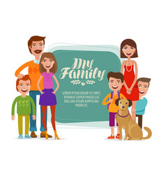 Family banner happy people parents and children vector
