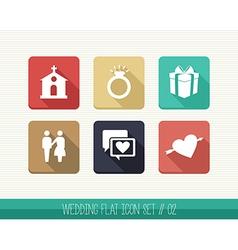 Wedding flat icon set vector