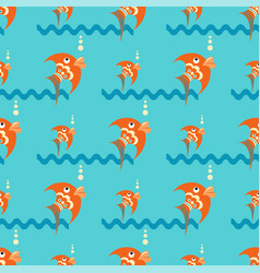 Bright orange fish on a blue background with vector