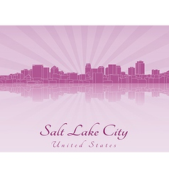 Salt lake city skyline in purple radiant orchid vector
