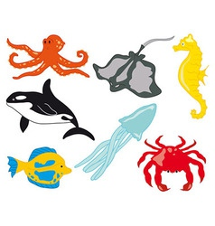 Sea life with fish vector