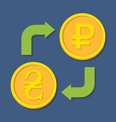 Currency exchange hryvnia and ruble vector