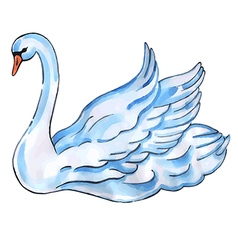 Swan with lift wings vector