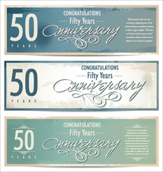 50 years Anniversary retro background vector image vector image