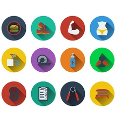 Set of fitness icons in flat design vector