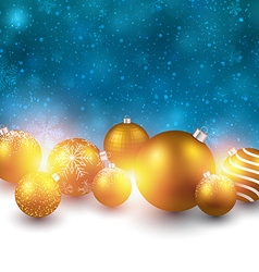 Winter background with golden christmas balls vector