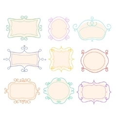 Outline frames emblems mono line graphic vector