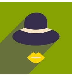 Flat icon with long shadow female hat lips vector