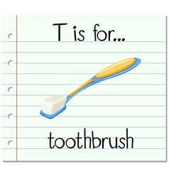 Flashcard letter t is for toothbrush vector