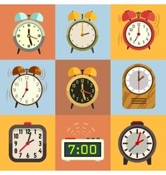 Alarm clock flat icons vector image