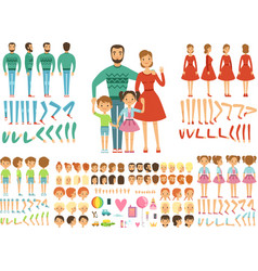 big happy family mother father and childrens vector image vector image