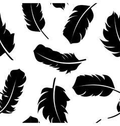 Bird Feather Hand Drawn Seamless Pattern vector image