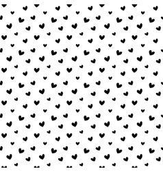 Black doodle hearts seamless pattern backgroun vector image vector image