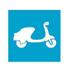 Blue square frame with scooter icon vector