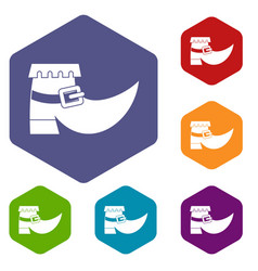 Boot with buckle icons set hexagon vector