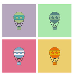 circus watercolor hot air balloon collection vector image