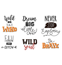 collection of wild letterings vector image vector image