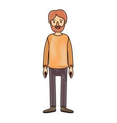 Color crayon stripe cartoon full body man bearded vector