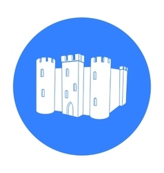 English castle icon in black style isolated on vector