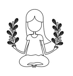 Figure woman relaxing with plants branches vector