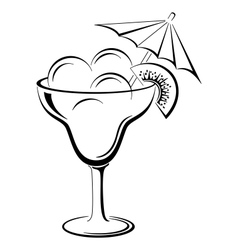 Glass vase with ice cream black contour vector
