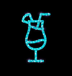 Golden cocktail flat icon design blue hawaii vector