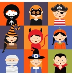 Happy halloween set of cute cartoon children in vector