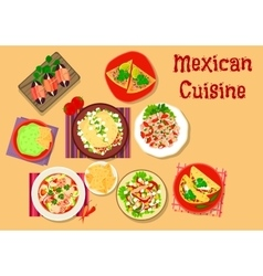 Mexican cuisine spicy snack and salad icon vector