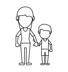 mom and son holding hands thin line vector image