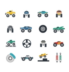Monster truck icons set vector